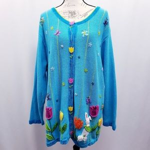 Quacker Factory Embellished & Applique Sweater 2X
